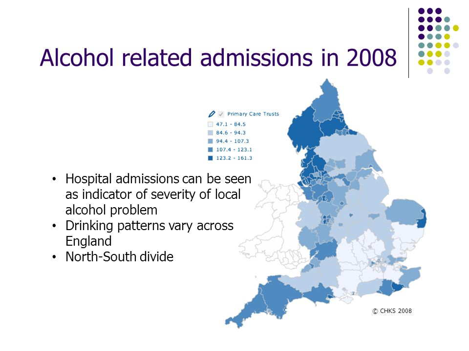 Alcohol related admissions in 2008 Hospital admissions can be seen as indicator of severity of local alcohol problem Drinking patterns vary across Eng