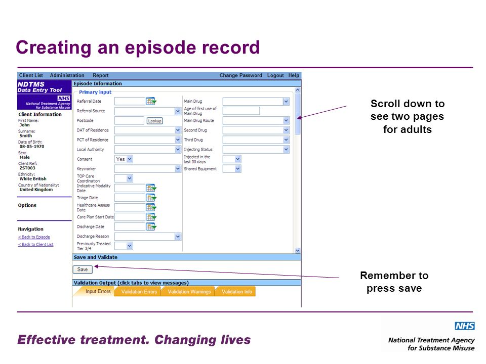 Creating an episode record Remember to press save Scroll down to see two pages for adults