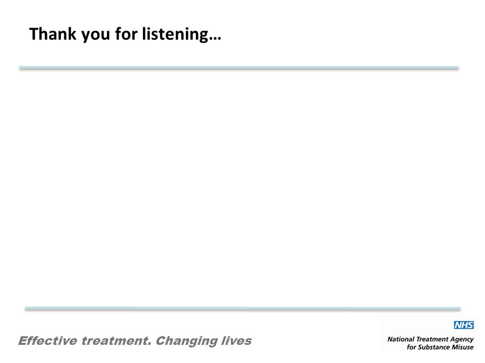 Effective treatment. Changing lives Thank you for listening…
