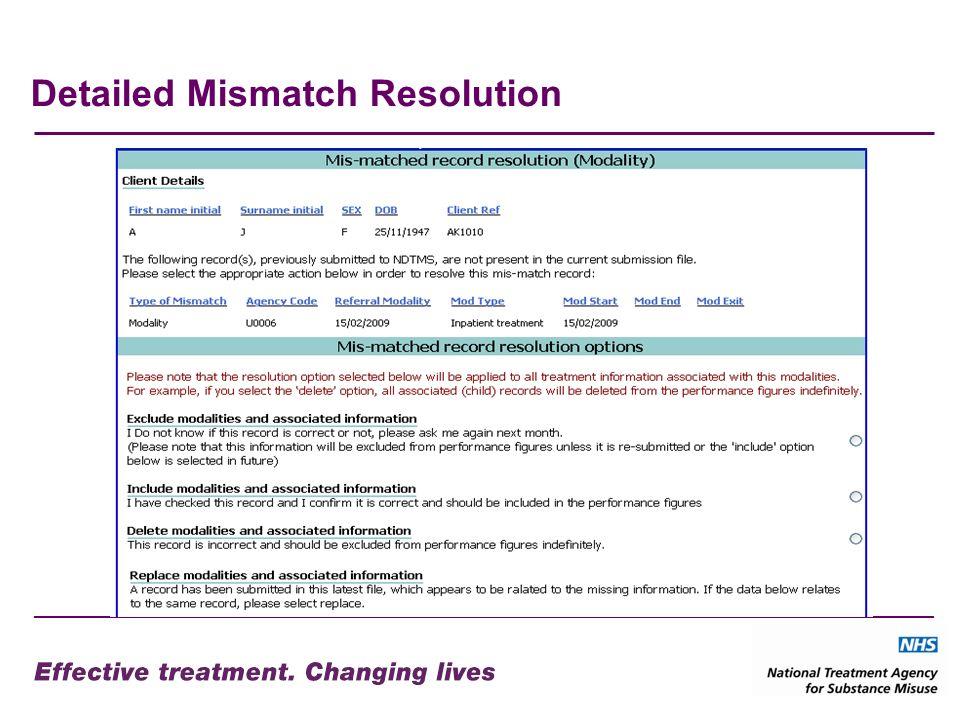 Detailed Mismatch Resolution