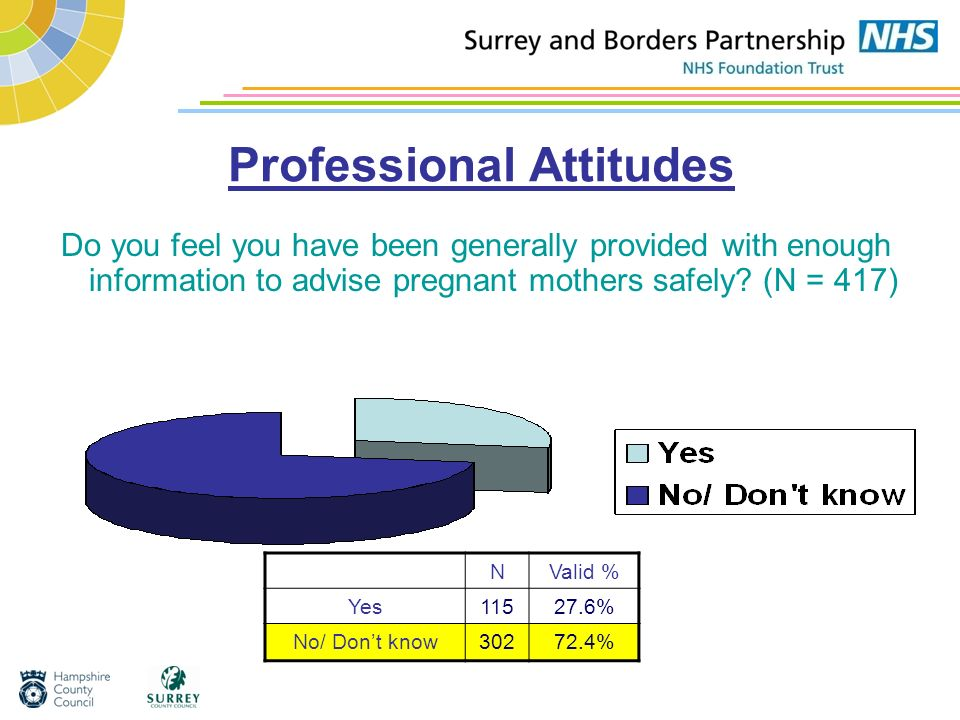Professional Attitudes Do you feel you have been generally provided with enough information to advise pregnant mothers safely? (N = 417) NValid % Yes1