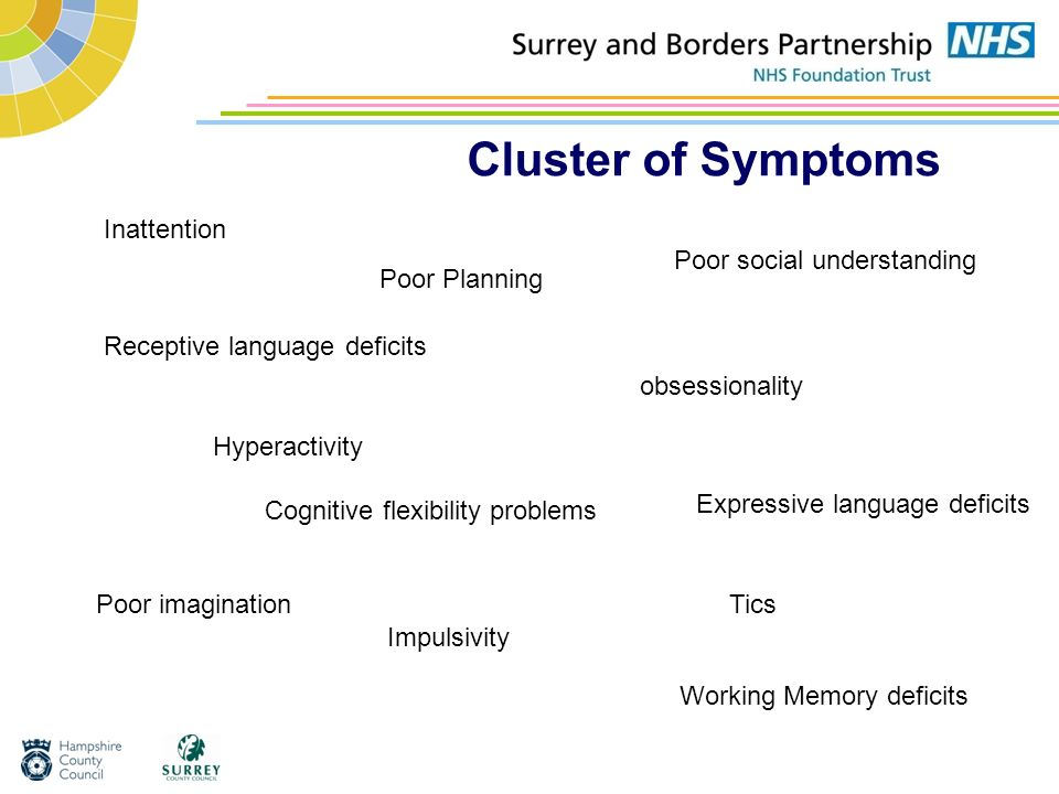 Cluster of Symptoms Inattention Hyperactivity Poor social understanding Impulsivity obsessionality Tics Poor Planning Cognitive flexibility problems W