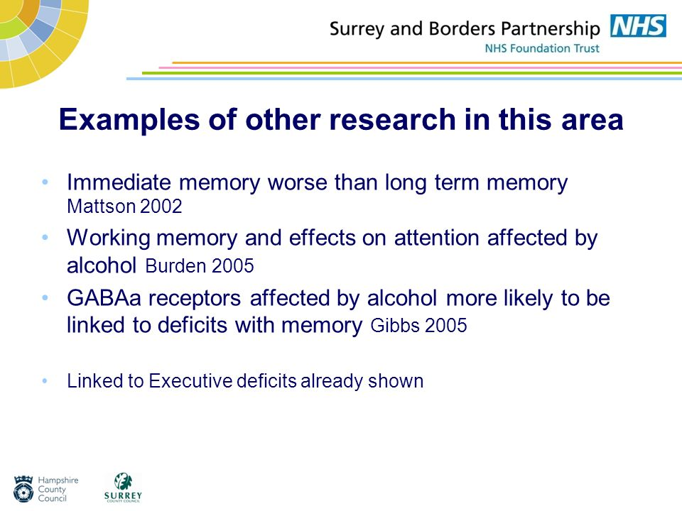 Examples of other research in this area Immediate memory worse than long term memory Mattson 2002 Working memory and effects on attention affected by