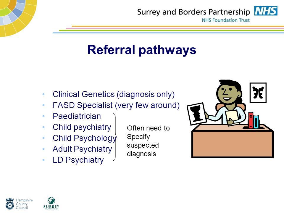Referral pathways Clinical Genetics (diagnosis only) FASD Specialist (very few around) Paediatrician Child psychiatry Child Psychology Adult Psychiatr