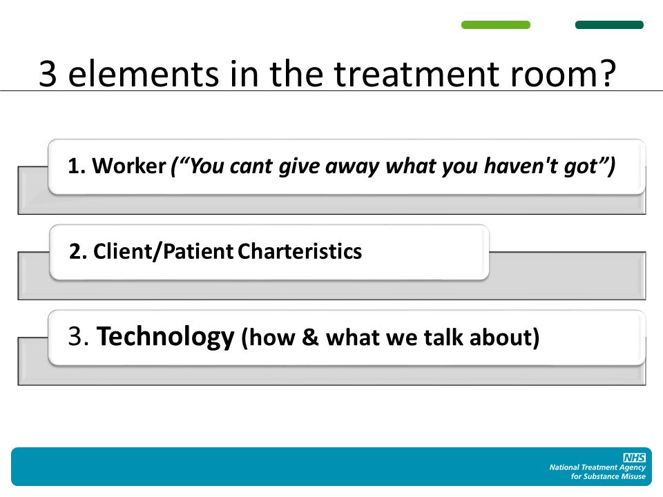 3 elements in the treatment room. 1. Worker (You cant give away what you haven t got)2.