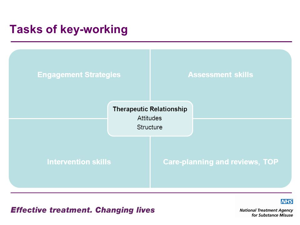 Tasks of key-working Engagement StrategiesAssessment skills Intervention skillsCare-planning and reviews, TOP Therapeutic Relationship Attitudes Struc