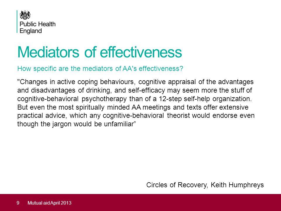 Mediators of effectiveness How specific are the mediators of AA's effectiveness?
