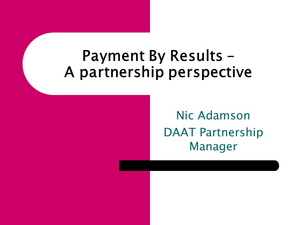 Nic Adamson DAAT Partnership Manager Payment By Results – A partnership perspective