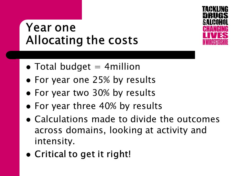 Year one Allocating the costs Total budget = 4million For year one 25% by results For year two 30% by results For year three 40% by results Calculations made to divide the outcomes across domains, looking at activity and intensity.