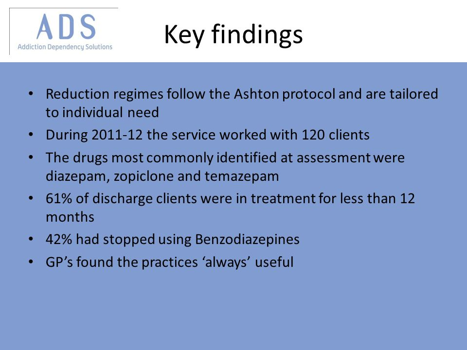 Key findings Reduction regimes follow the Ashton protocol and are tailored to individual need During 2011-12 the service worked with 120 clients The drugs most commonly identified at assessment were diazepam, zopiclone and temazepam 61% of discharge clients were in treatment for less than 12 months 42% had stopped using Benzodiazepines GPs found the practices always useful
