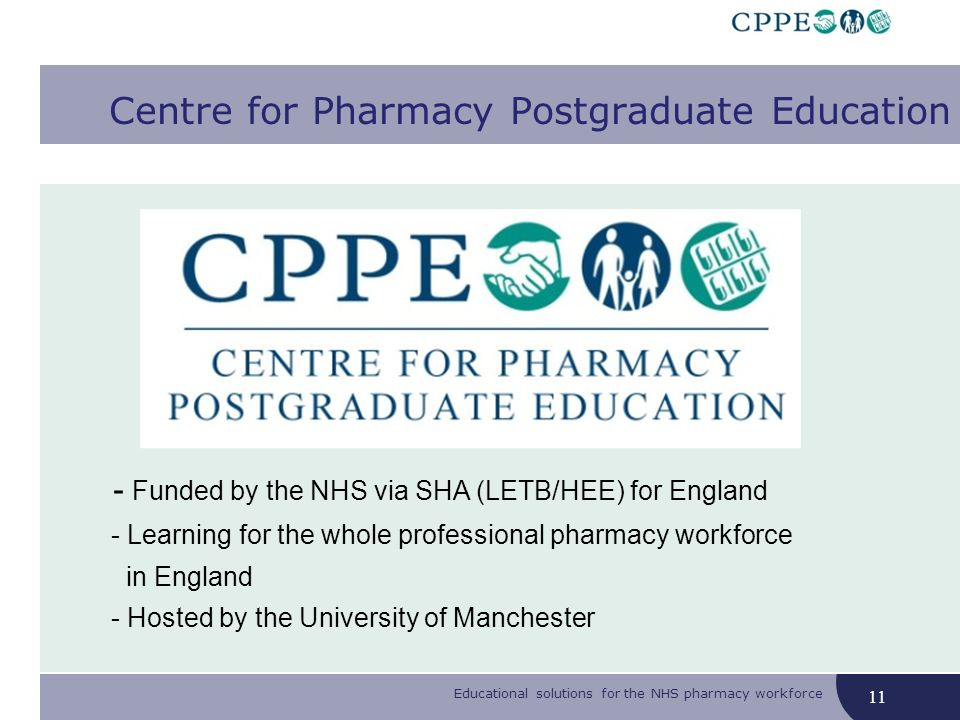 Educational solutions for the NHS pharmacy workforce Centre for Pharmacy Postgraduate Education 11 - Funded by the NHS via SHA (LETB/HEE) for England - Learning for the whole professional pharmacy workforce in England - Hosted by the University of Manchester