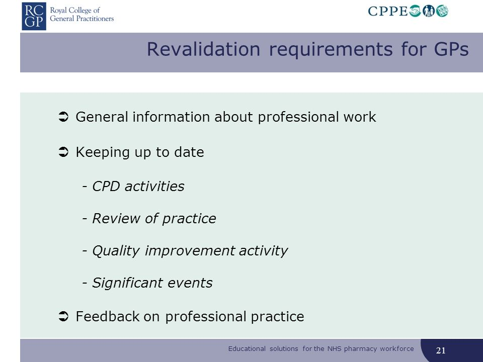 Educational solutions for the NHS pharmacy workforce Revalidation requirements for GPs General information about professional work Keeping up to date - CPD activities - Review of practice - Quality improvement activity - Significant events Feedback on professional practice 21