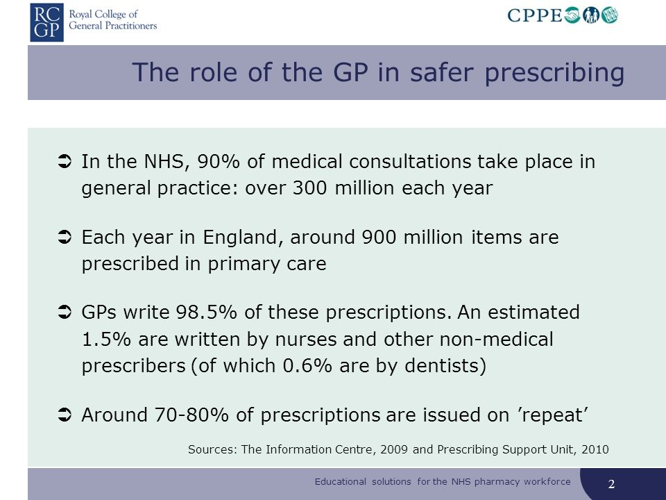 Educational solutions for the NHS pharmacy workforce The role of the GP in safer prescribing In the NHS, 90% of medical consultations take place in general practice: over 300 million each year Each year in England, around 900 million items are prescribed in primary care GPs write 98.5% of these prescriptions.