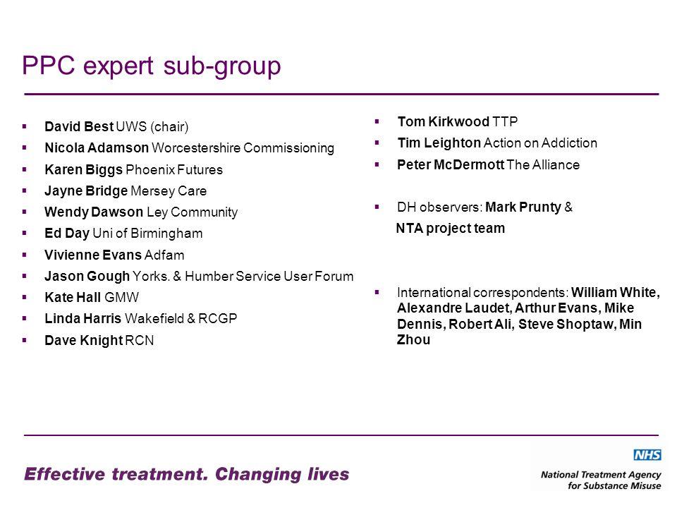PPC expert sub-group David Best UWS (chair) Nicola Adamson Worcestershire Commissioning Karen Biggs Phoenix Futures Jayne Bridge Mersey Care Wendy Daw