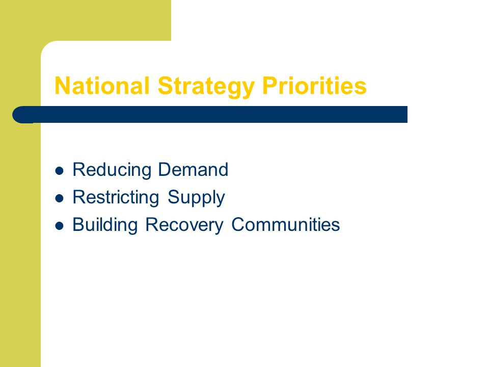 National Strategy Priorities Reducing Demand Restricting Supply Building Recovery Communities