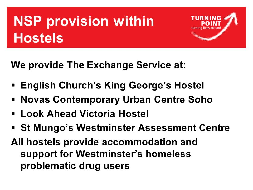 NSP provision within Hostels We provide The Exchange Service at: English Churchs King Georges Hostel Novas Contemporary Urban Centre Soho Look Ahead V