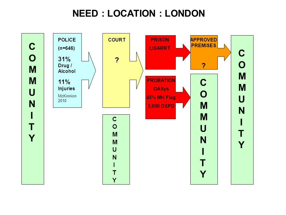 NEED : LOCATION : LONDON COMMUNITYCOMMUNITY POLICE (n=646) 31% Drug / Alcohol 11% Injuries McKinnion 2010 COURT ? PRISON LISARRT PROBATION OASys 45% M