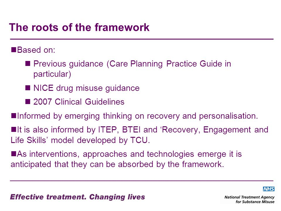 The roots of the framework Based on: Previous guidance (Care Planning Practice Guide in particular) NICE drug misuse guidance 2007 Clinical Guidelines Informed by emerging thinking on recovery and personalisation.