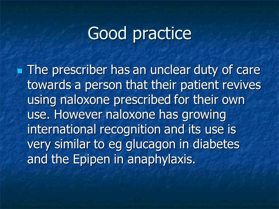 Good practice The prescriber has an unclear duty of care towards a person that their patient revives using naloxone prescribed for their own use.