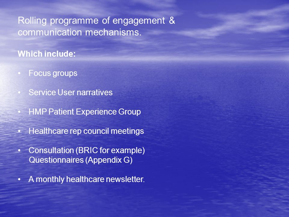 Development Outcomes.Patient Experience Group meetings.