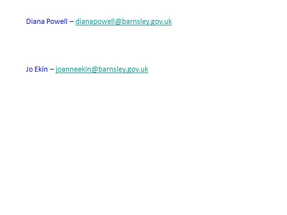Diana Powell – dianapowell@barnsley.gov.ukdianapowell@barnsley.gov.uk Jo Ekin – joanneekin@barnsley.gov.ukjoanneekin@barnsley.gov.uk