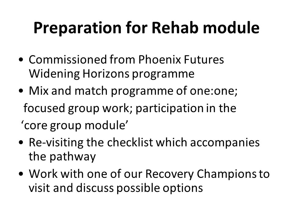 Preparation for Rehab module Commissioned from Phoenix Futures Widening Horizons programme Mix and match programme of one:one; focused group work; par