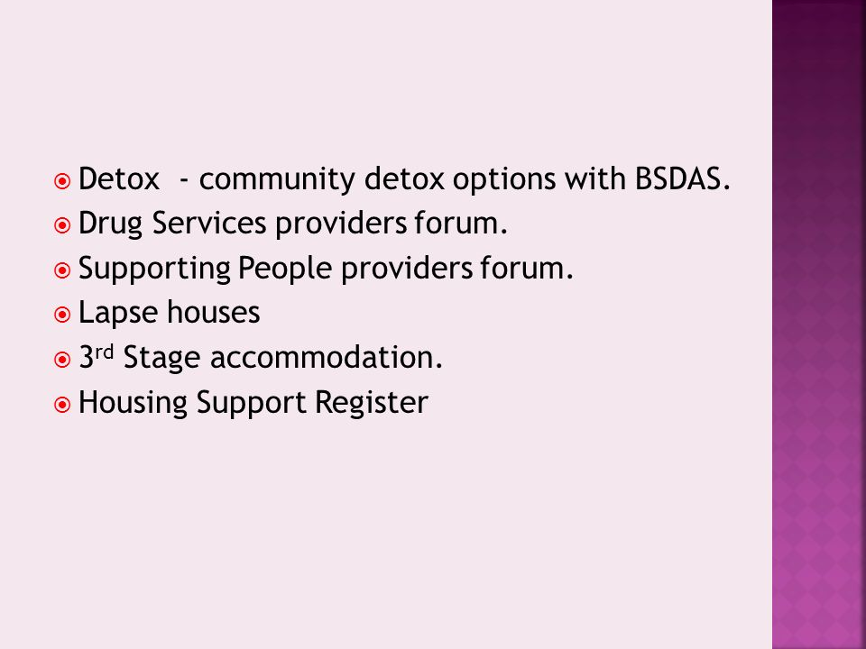 Detox - community detox options with BSDAS. Drug Services providers forum. Supporting People providers forum. Lapse houses 3 rd Stage accommodation. H