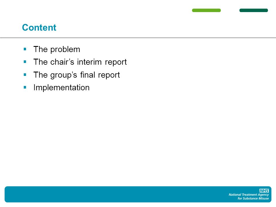 Content The problem The chairs interim report The groups final report Implementation