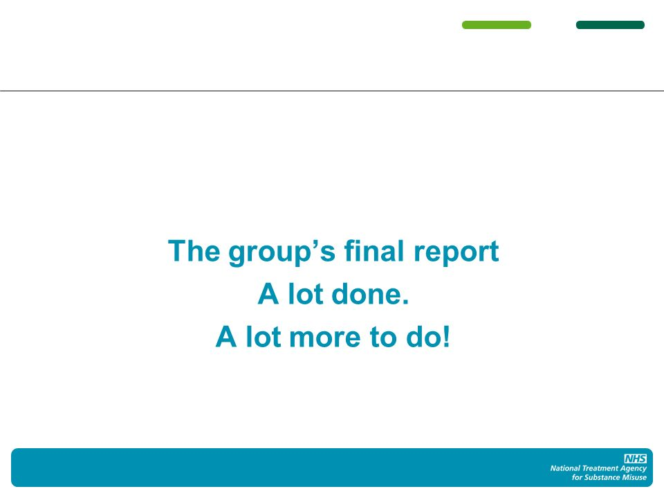 The groups final report A lot done. A lot more to do!