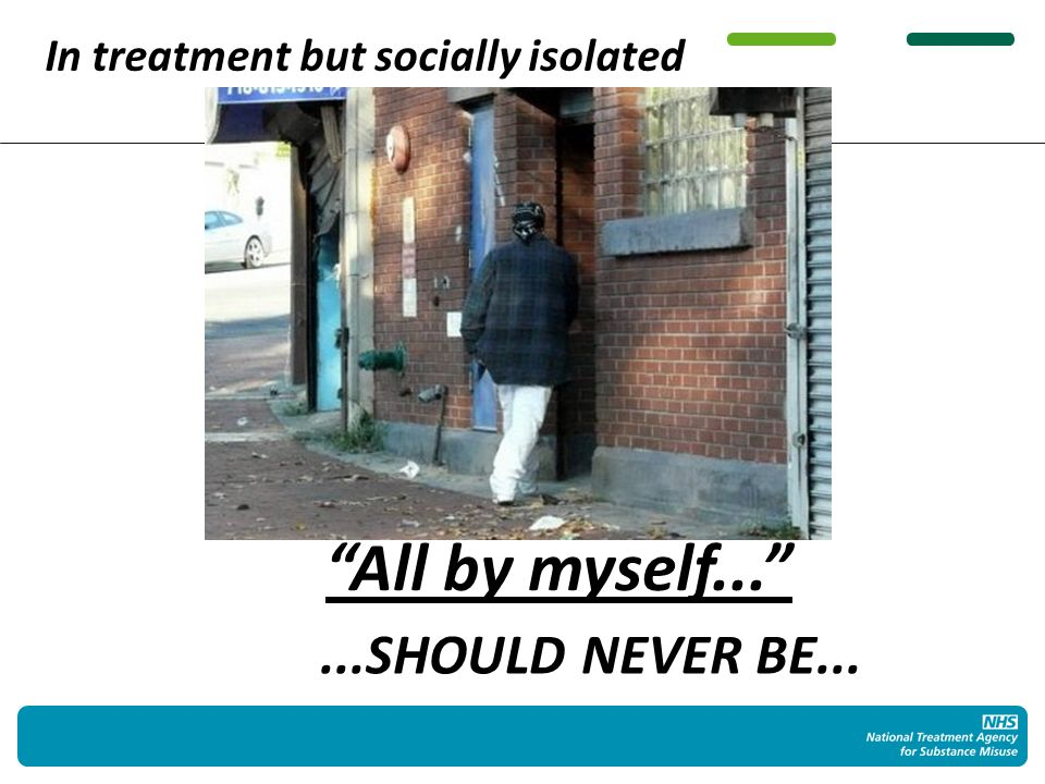 All by myself... In treatment but socially isolated...SHOULD NEVER BE...