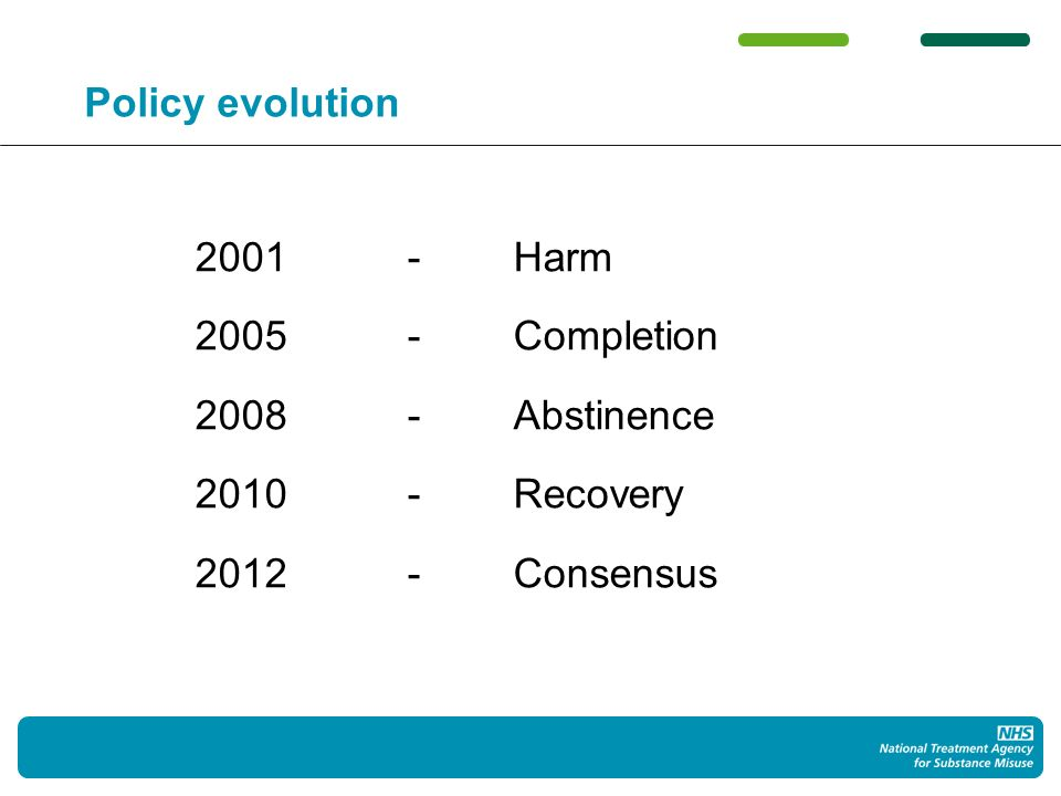Policy evolution 2001-Harm 2005-Completion 2008-Abstinence 2010-Recovery 2012-Consensus