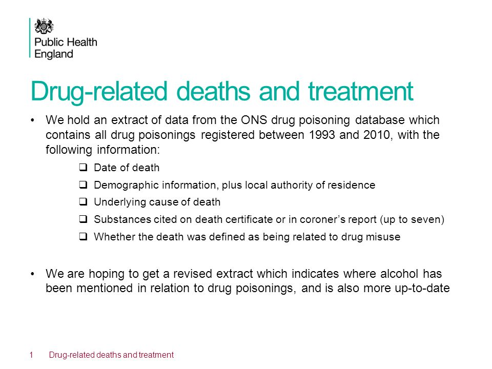 Drug-related deaths and treatment We hold an extract of data from the ONS drug poisoning database which contains all drug poisonings registered betwee
