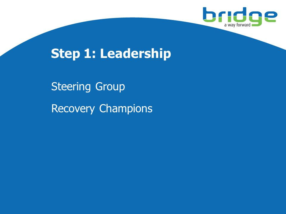 Step 1: Leadership Steering Group Recovery Champions