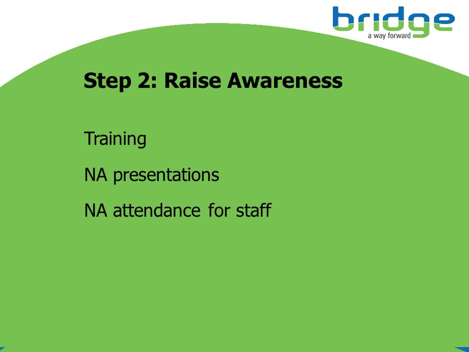 Step 2: Raise Awareness Training NA presentations NA attendance for staff