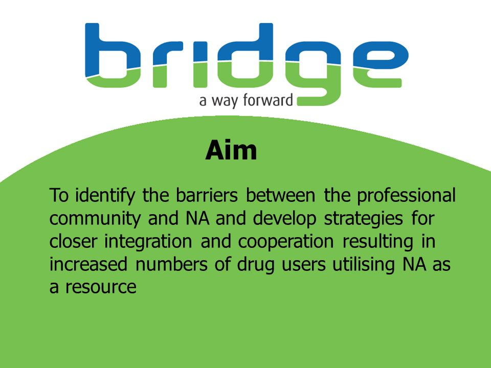 Aim To identify the barriers between the professional community and NA and develop strategies for closer integration and cooperation resulting in increased numbers of drug users utilising NA as a resource