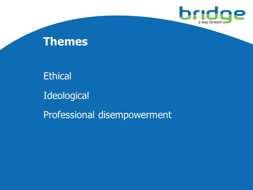 Ethical Ideological Professional disempowerment Themes