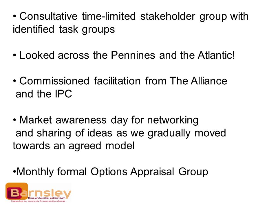 Consultative time-limited stakeholder group with identified task groups Looked across the Pennines and the Atlantic! Commissioned facilitation from Th