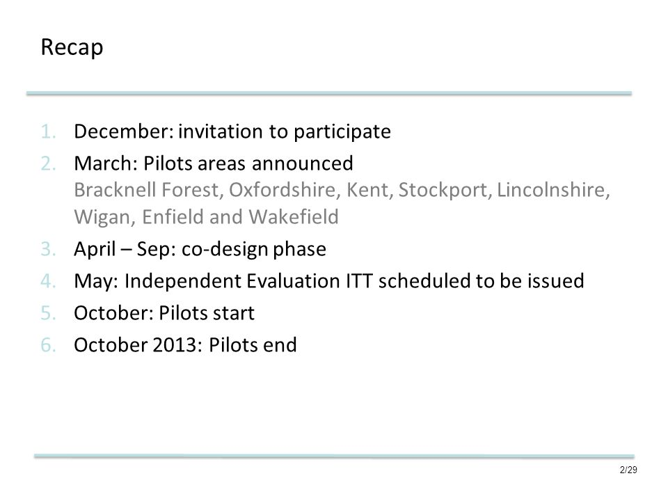 2/29 Recap 1.December: invitation to participate 2.March: Pilots areas announced Bracknell Forest, Oxfordshire, Kent, Stockport, Lincolnshire, Wigan, Enfield and Wakefield 3.April – Sep: co-design phase 4.May: Independent Evaluation ITT scheduled to be issued 5.October: Pilots start 6.October 2013: Pilots end