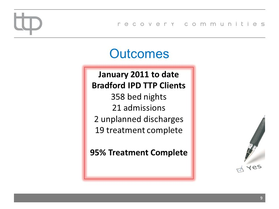 Outcomes 9 January 2011 to date Bradford IPD TTP Clients 358 bed nights 21 admissions 2 unplanned discharges 19 treatment complete 95% Treatment Complete