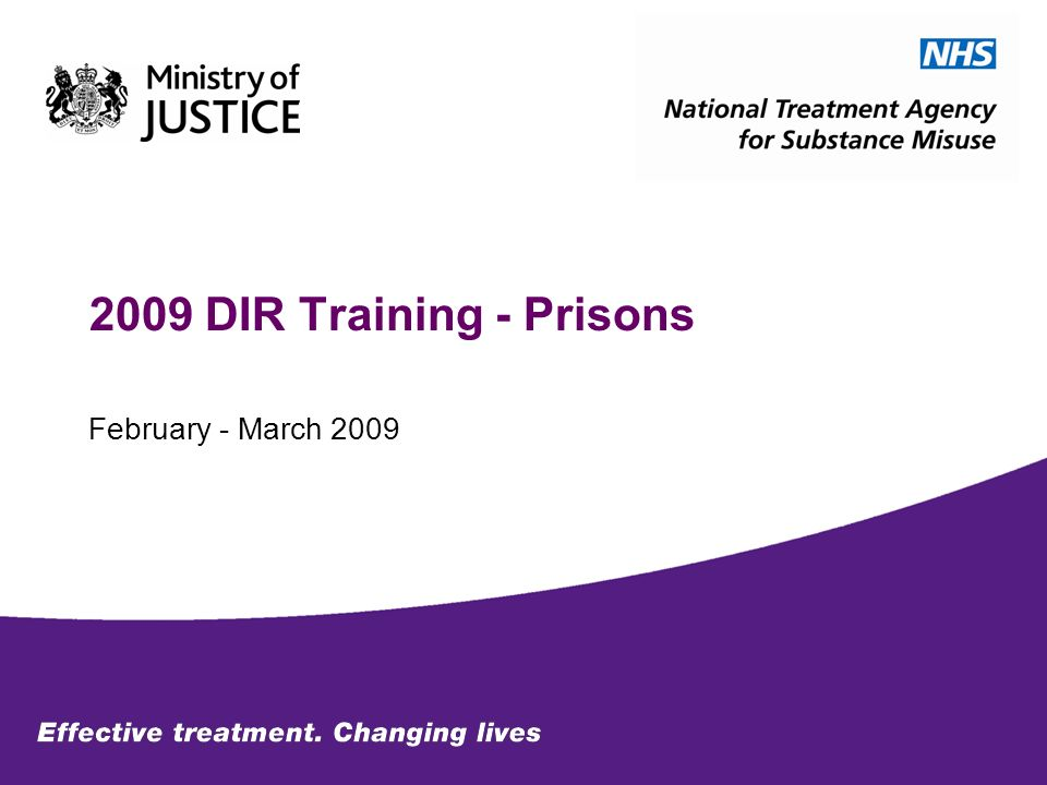 2009 DIR Training - Prisons February - March 2009