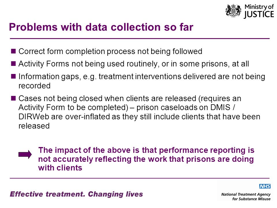 Problems with data collection so far Correct form completion process not being followed Activity Forms not being used routinely, or in some prisons, at all Information gaps, e.g.