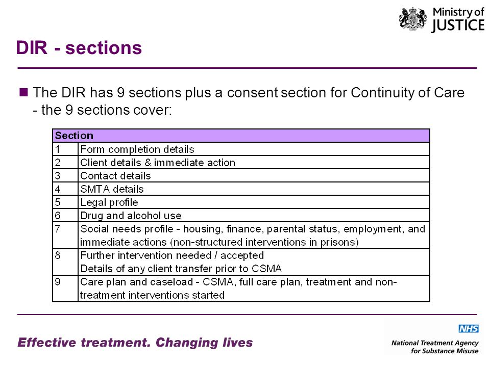 DIR - sections The DIR has 9 sections plus a consent section for Continuity of Care - the 9 sections cover: