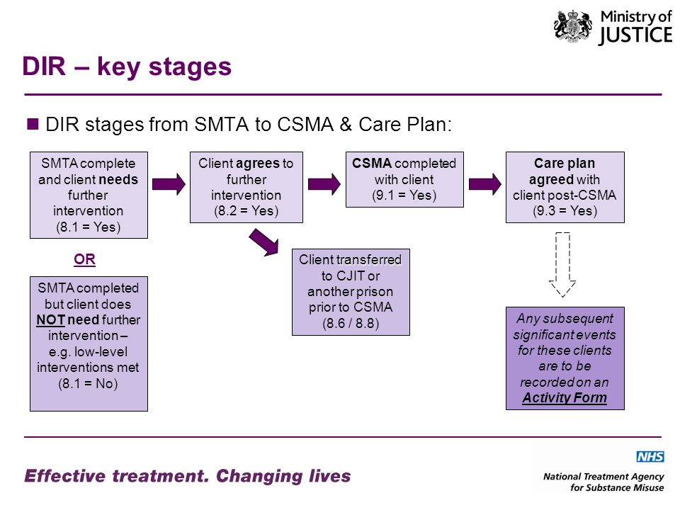 DIR – key stages DIR stages from SMTA to CSMA & Care Plan: SMTA complete and client needs further intervention (8.1 = Yes) CSMA completed with client (9.1 = Yes) Care plan agreed with client post-CSMA (9.3 = Yes) transferred Client transferred to CJIT or another prison prior to CSMA (8.6 / 8.8) Client agrees to further intervention (8.2 = Yes) SMTA completed but client does NOT need further intervention – e.g.