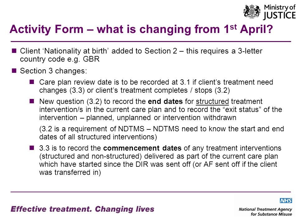 Activity Form – what is changing from 1 st April.