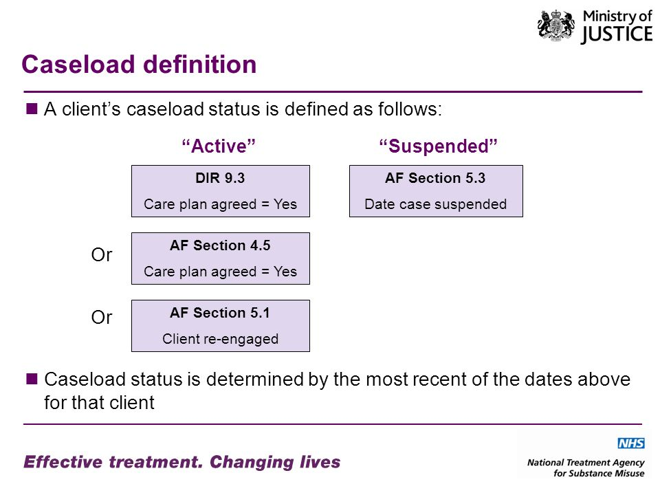 Caseload definition A clients caseload status is defined as follows: Or Caseload status is determined by the most recent of the dates above for that client AF Section 4.5 Care plan agreed = Yes AF Section 5.3 Date case suspended AF Section 5.1 Client re-engaged SuspendedActive DIR 9.3 Care plan agreed = Yes