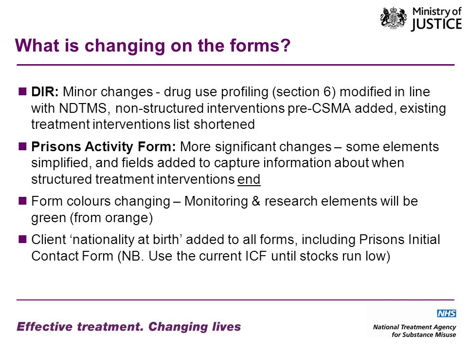 Activity Form – the sections 4.Client transferred from another CARAT/CJIT records the substances misused that brought the client into treatment records first night clinical intervention CSMA Care Plan records treatment interventions which have commenced