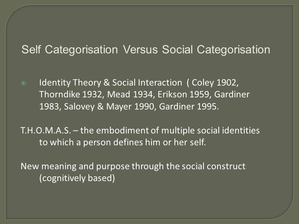 Identity Theory & Social Interaction ( Coley 1902, Thorndike 1932, Mead 1934, Erikson 1959, Gardiner 1983, Salovey & Mayer 1990, Gardiner 1995.