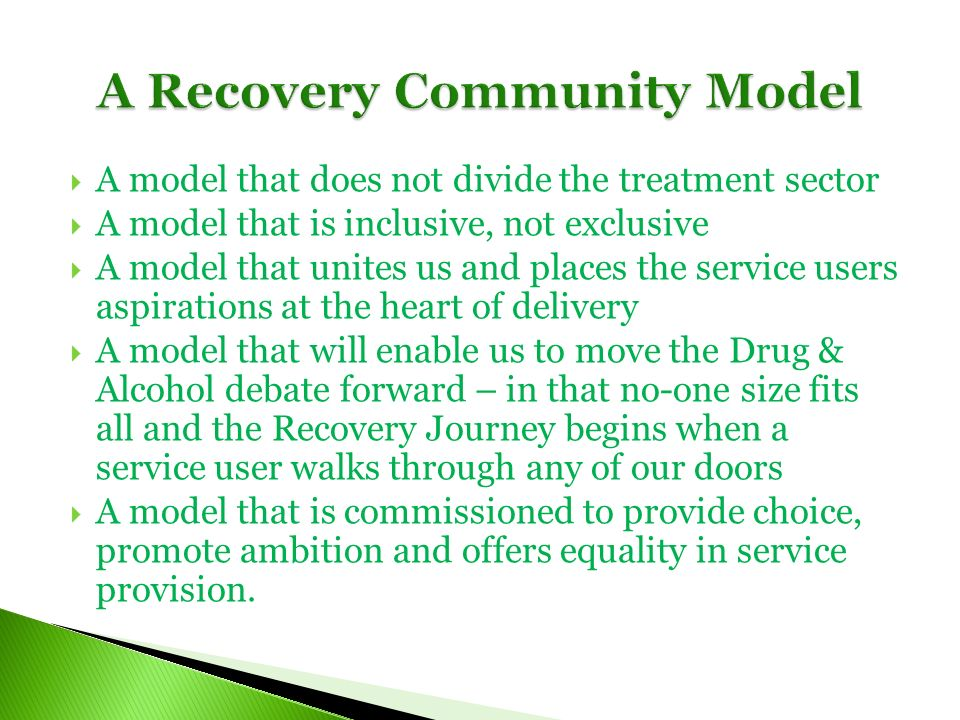 A model that does not divide the treatment sector A model that is inclusive, not exclusive A model that unites us and places the service users aspirations at the heart of delivery A model that will enable us to move the Drug & Alcohol debate forward – in that no-one size fits all and the Recovery Journey begins when a service user walks through any of our doors A model that is commissioned to provide choice, promote ambition and offers equality in service provision.