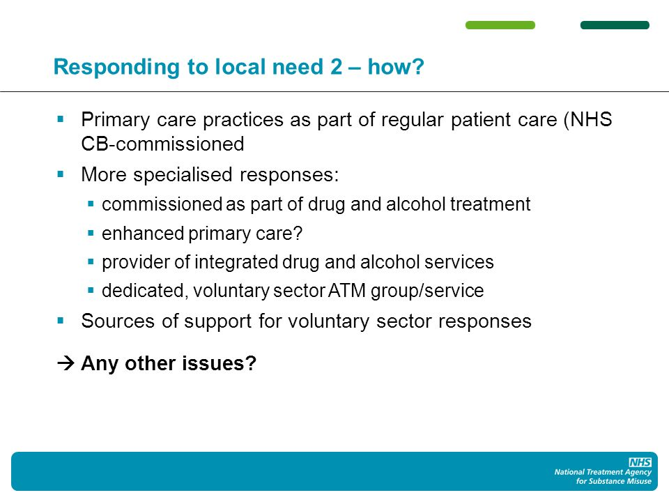 Responding to local need 2 – how? Primary care practices as part of regular patient care (NHS CB-commissioned More specialised responses: commissioned