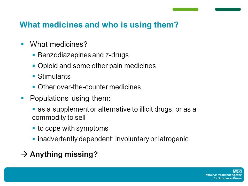 What medicines and who is using them.What medicines.